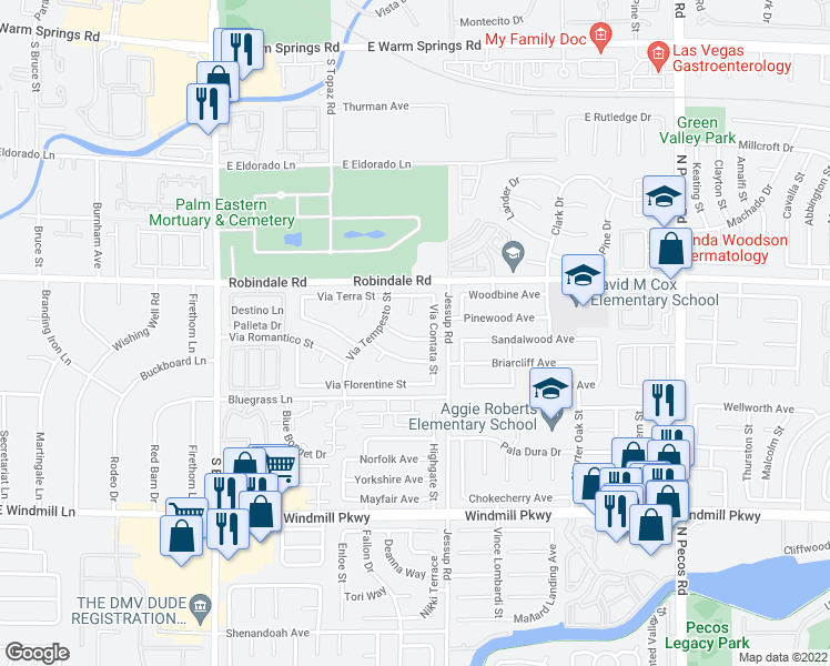 map of restaurants, bars, coffee shops, grocery stores, and more near 2806 Via Bel Mondo Street in Henderson