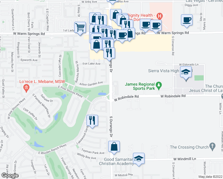 map of restaurants, bars, coffee shops, grocery stores, and more near South Durango Drive in Las Vegas