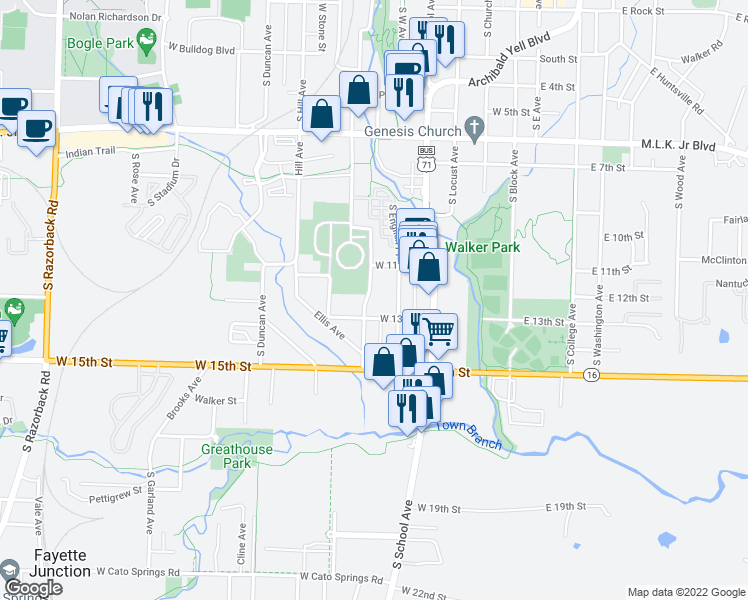 map of restaurants, bars, coffee shops, grocery stores, and more near 1212 Dunn Avenue in Fayetteville