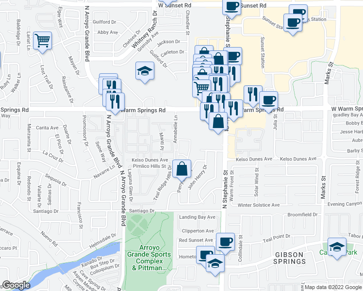 map of restaurants, bars, coffee shops, grocery stores, and more near 310 Annabelle Lane in Henderson