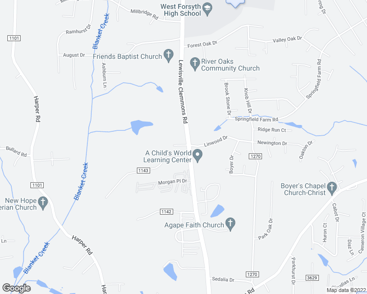 map of restaurants, bars, coffee shops, grocery stores, and more near 114 Western Villa Drive in Clemmons