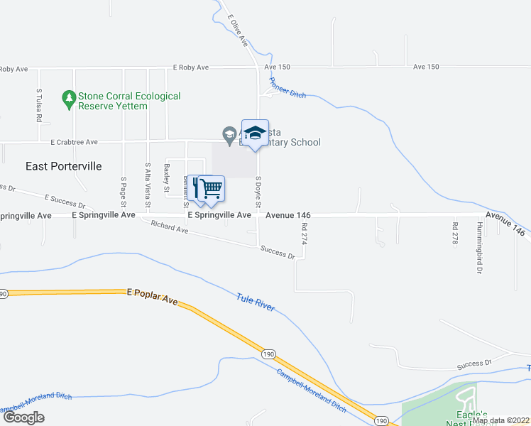 map of restaurants, bars, coffee shops, grocery stores, and more near 27226 East Springville Avenue in Porterville