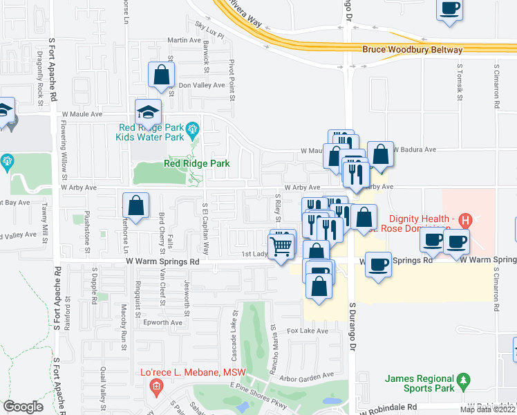 map of restaurants, bars, coffee shops, grocery stores, and more near 8855 West Arby Avenue in Las Vegas