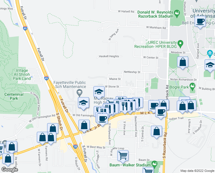 map of restaurants, bars, coffee shops, grocery stores, and more near 2164 West Stone Street in Fayetteville