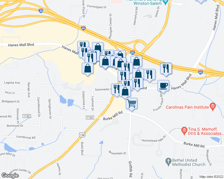 map of restaurants, bars, coffee shops, grocery stores, and more near 2016 South Stratford Road in Winston-Salem