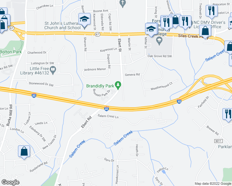 map of restaurants, bars, coffee shops, grocery stores, and more near Ebert Road in Winston-Salem