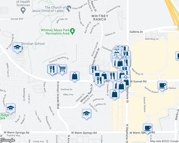 map of restaurants, bars, coffee shops, grocery stores, and more near 625 Whitney Ranch Drive in Henderson