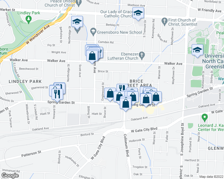 map of restaurants, bars, coffee shops, grocery stores, and more near Milton Street in Greensboro