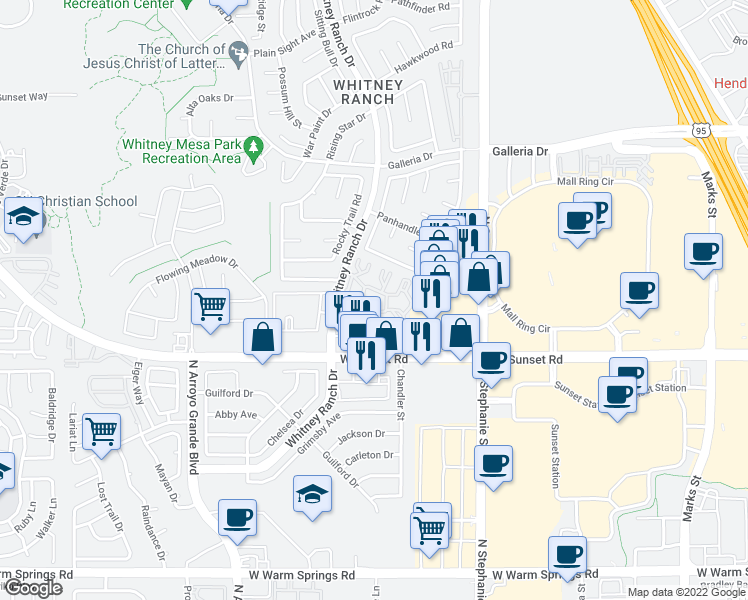 map of restaurants, bars, coffee shops, grocery stores, and more near 700-724 Whitney Ranch Drive in Henderson