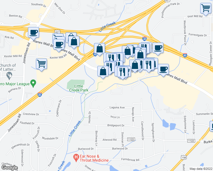 map of restaurants, bars, coffee shops, grocery stores, and more near 1305 Creekshire Way in Winston-Salem