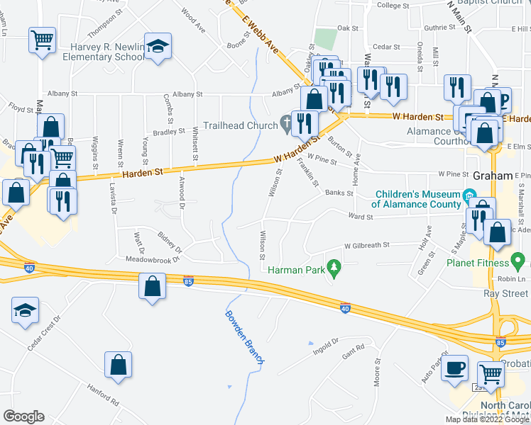 map of restaurants, bars, coffee shops, grocery stores, and more near Wilson Street in Graham