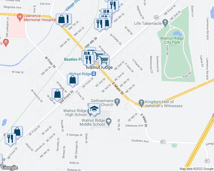 map of restaurants, bars, coffee shops, grocery stores, and more near 223 East Elm Street in Walnut Ridge