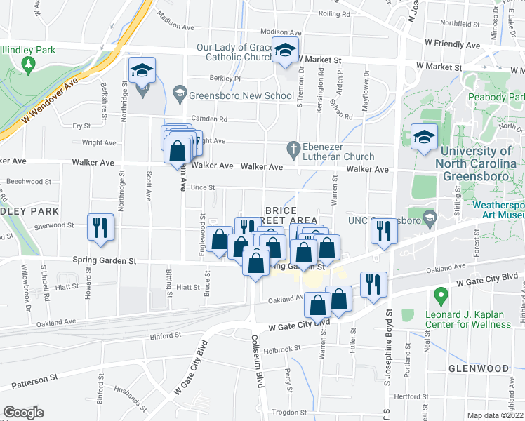 map of restaurants, bars, coffee shops, grocery stores, and more near S Chapman St & Fargis St in Greensboro