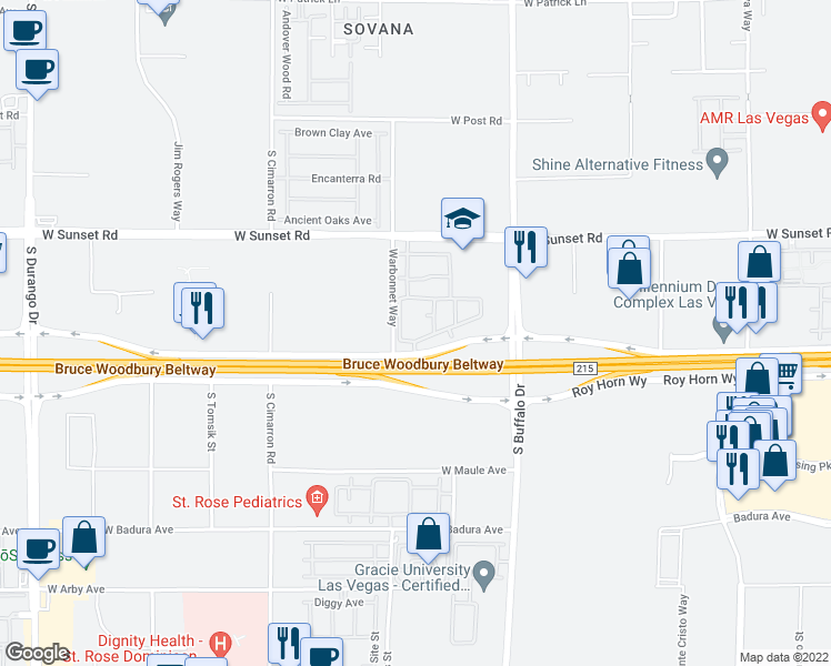 map of restaurants, bars, coffee shops, grocery stores, and more near 7960 Rafael Rivera Way in Las Vegas