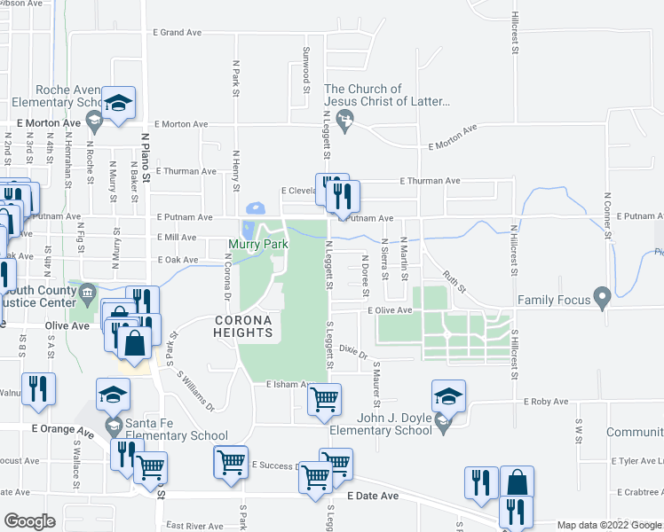 map of restaurants, bars, coffee shops, grocery stores, and more near 112 North Leggett Street in Porterville