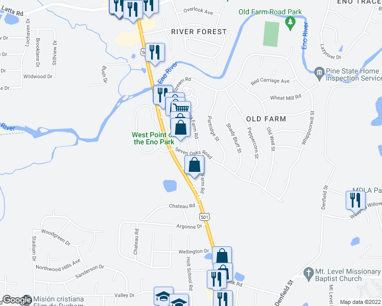 map of restaurants, bars, coffee shops, grocery stores, and more near Seven Oaks Road in Durham