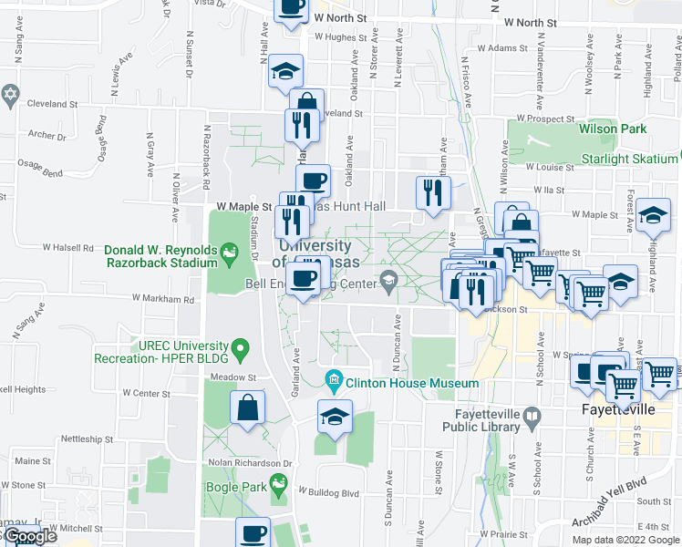 map of restaurants, bars, coffee shops, grocery stores, and more near in Fayetteville