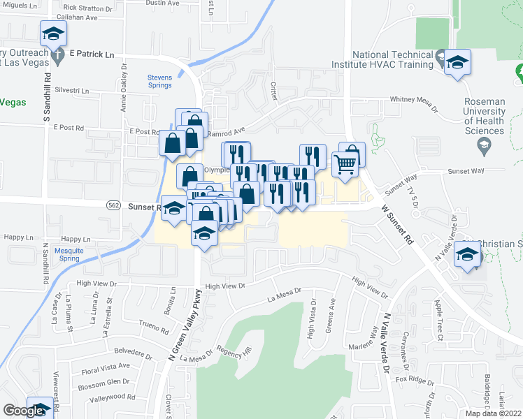 map of restaurants, bars, coffee shops, grocery stores, and more near 4343 East Sunset Road in Henderson