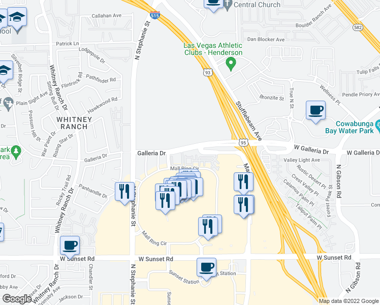 map of restaurants, bars, coffee shops, grocery stores, and more near 784 La Amatista Street in Henderson