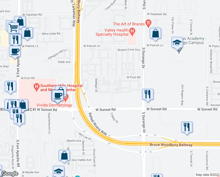 map of restaurants, bars, coffee shops, grocery stores, and more near 6355 South Riley Street in Las Vegas