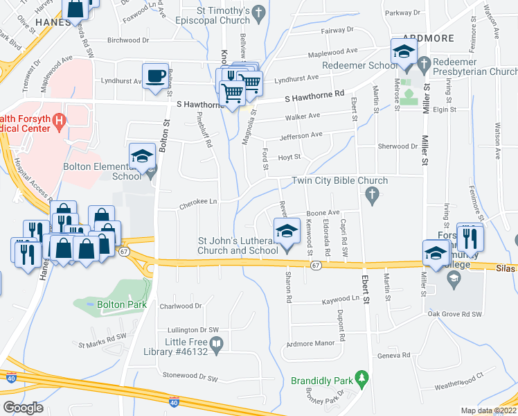 map of restaurants, bars, coffee shops, grocery stores, and more near 1410 Chelsea Street in Winston-Salem