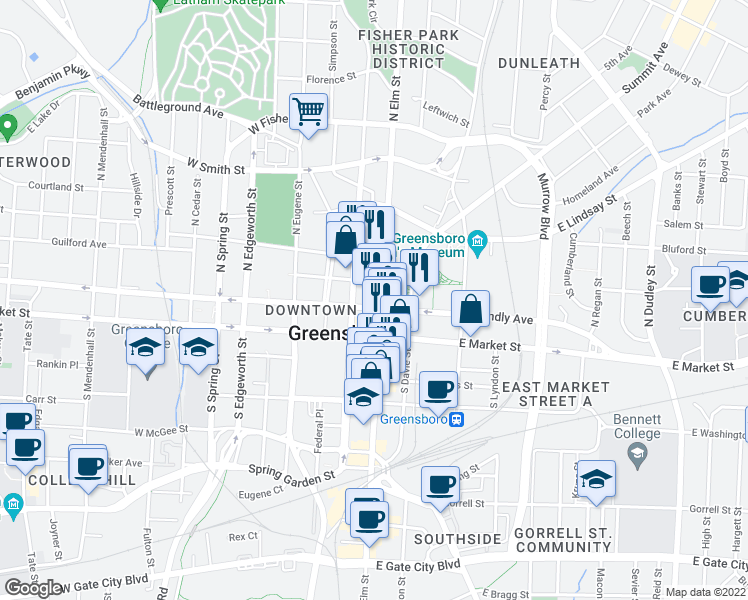 map of restaurants, bars, coffee shops, grocery stores, and more near 201 North Elm Street in Greensboro