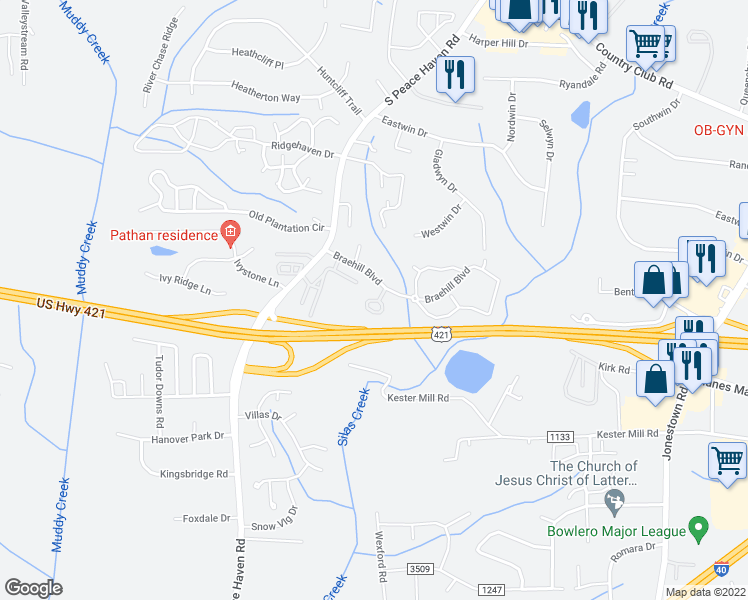 map of restaurants, bars, coffee shops, grocery stores, and more near 301 Meadows Circle in Winston-Salem