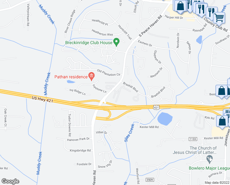 map of restaurants, bars, coffee shops, grocery stores, and more near Haven Ridge Road in Winston-Salem