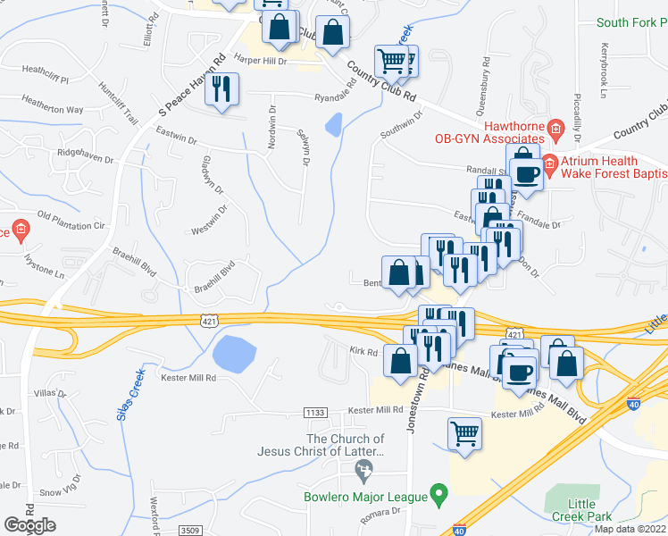 map of restaurants, bars, coffee shops, grocery stores, and more near 4773 Benton Road in Winston-Salem