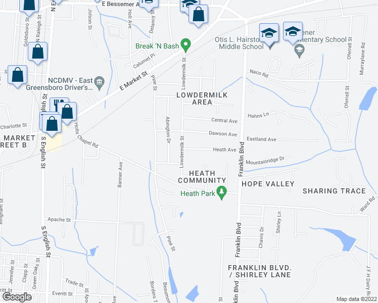 map of restaurants, bars, coffee shops, grocery stores, and more near 3702 Heath Street in Greensboro