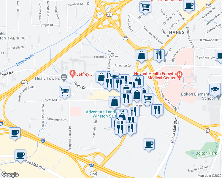 map of restaurants, bars, coffee shops, grocery stores, and more near 3250 Healy Drive in Winston-Salem