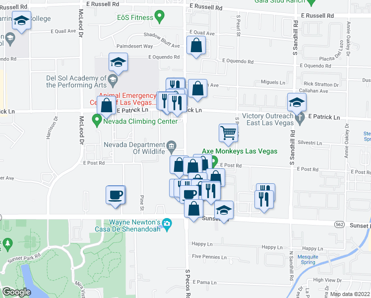 map of restaurants, bars, coffee shops, grocery stores, and more near South Pecos Road in Las Vegas