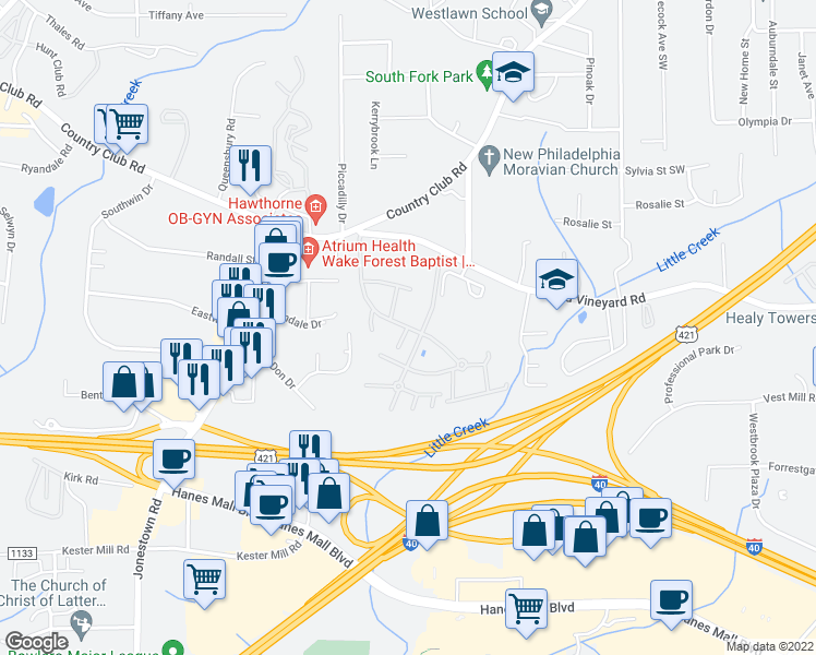 map of restaurants, bars, coffee shops, grocery stores, and more near 181-199 Dalewood Drive in Winston-Salem