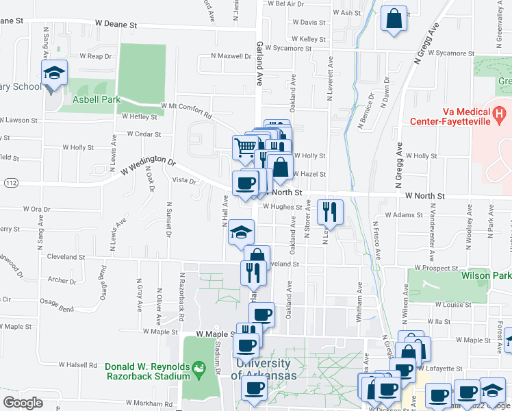 map of restaurants, bars, coffee shops, grocery stores, and more near 922 Hughes Street in Fayetteville