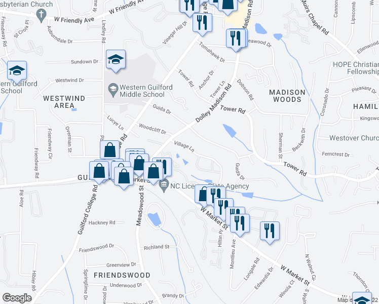 map of restaurants, bars, coffee shops, grocery stores, and more near 309 Village Lane in Greensboro