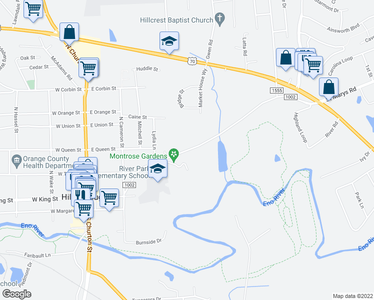 map of restaurants, bars, coffee shops, grocery stores, and more near 310-378 State Road 1002 in Hillsborough