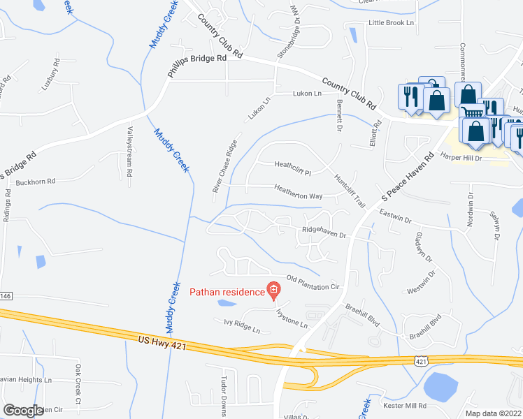 map of restaurants, bars, coffee shops, grocery stores, and more near 205 Ridgehaven Drive in Winston-Salem