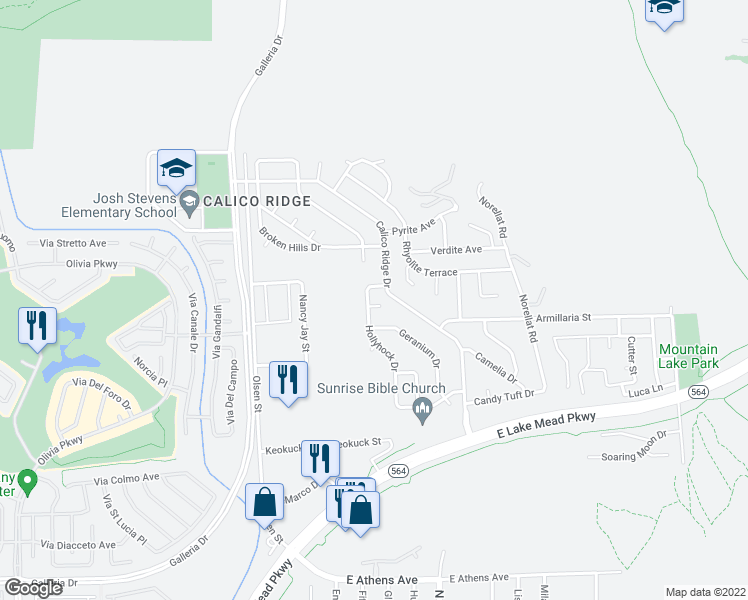 map of restaurants, bars, coffee shops, grocery stores, and more near 1065 Hollyhock Drive in Henderson