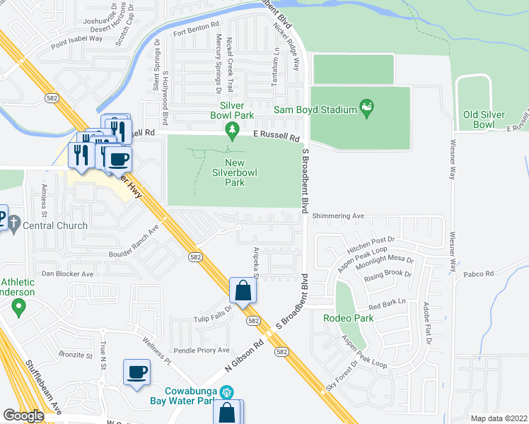 map of restaurants, bars, coffee shops, grocery stores, and more near 6655 Boulder Highway in Las Vegas