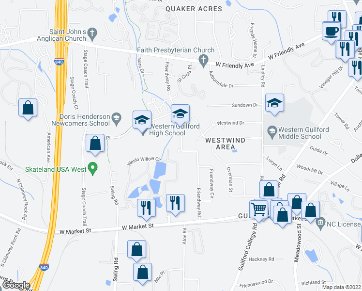 map of restaurants, bars, coffee shops, grocery stores, and more near Friendway Road in Greensboro