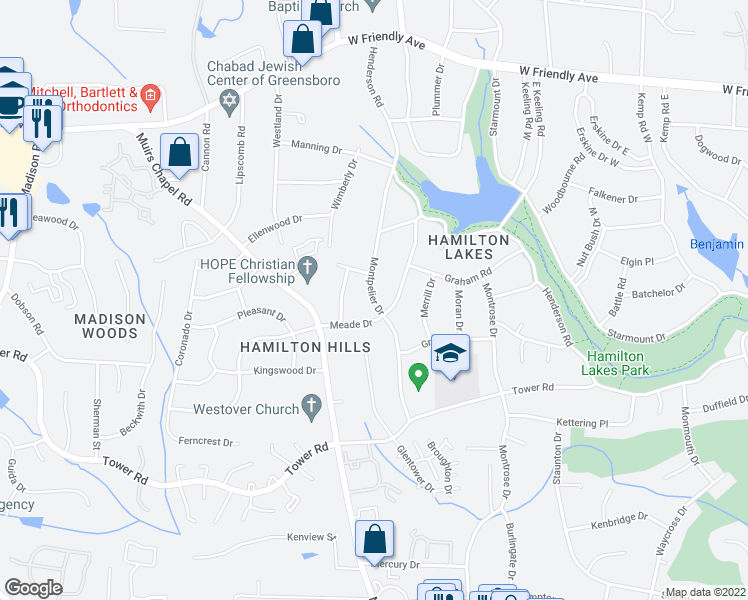map of restaurants, bars, coffee shops, grocery stores, and more near Montpelier Drive in Greensboro
