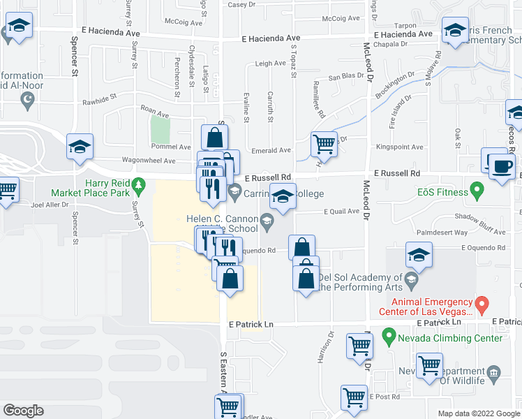 map of restaurants, bars, coffee shops, grocery stores, and more near 5850 Euclid Street in Las Vegas