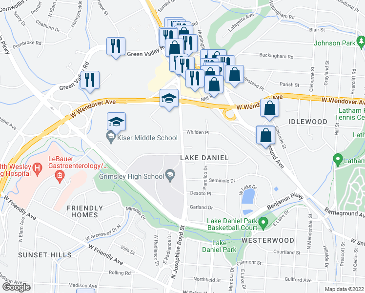 map of restaurants, bars, coffee shops, grocery stores, and more near 1101 Westover Terrace in Greensboro