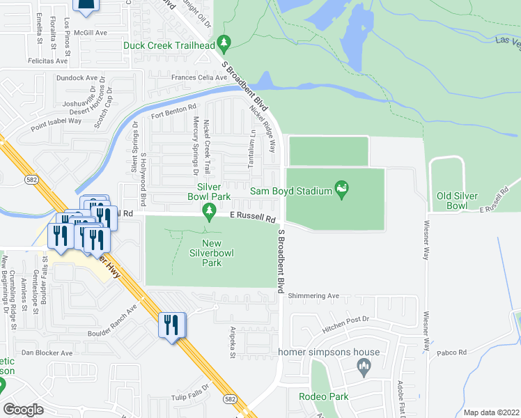 map of restaurants, bars, coffee shops, grocery stores, and more near Rainbow Creek Ct in Las Vegas