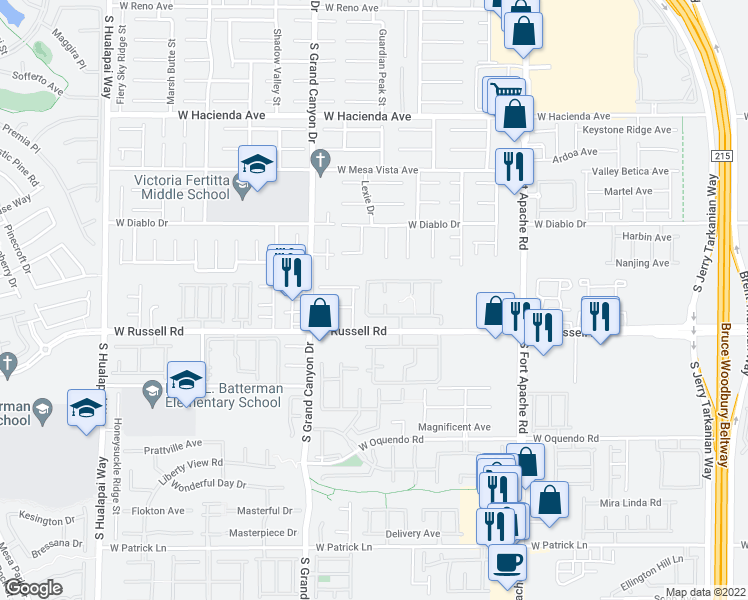 map of restaurants, bars, coffee shops, grocery stores, and more near 9620 West Russell Road in Las Vegas