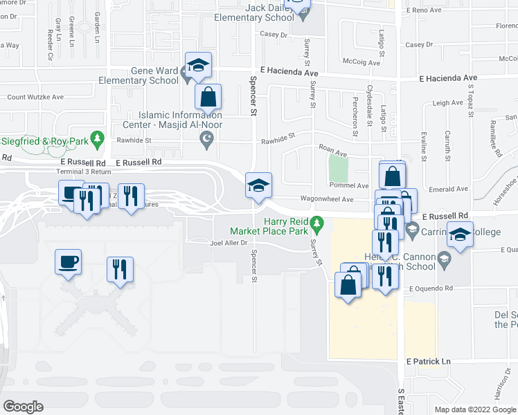 map of restaurants, bars, coffee shops, grocery stores, and more near 5601-5699 Spencer Street in Las Vegas