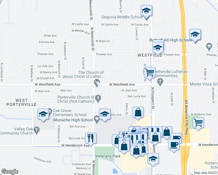 map of restaurants, bars, coffee shops, grocery stores, and more near 1181 Lindale Street in Porterville