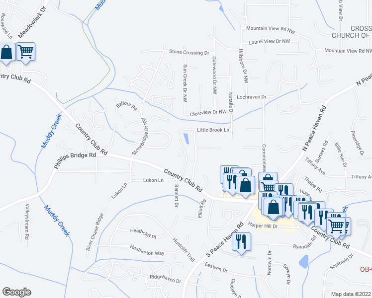 map of restaurants, bars, coffee shops, grocery stores, and more near 138 Cedar Lake Trail in Winston-Salem