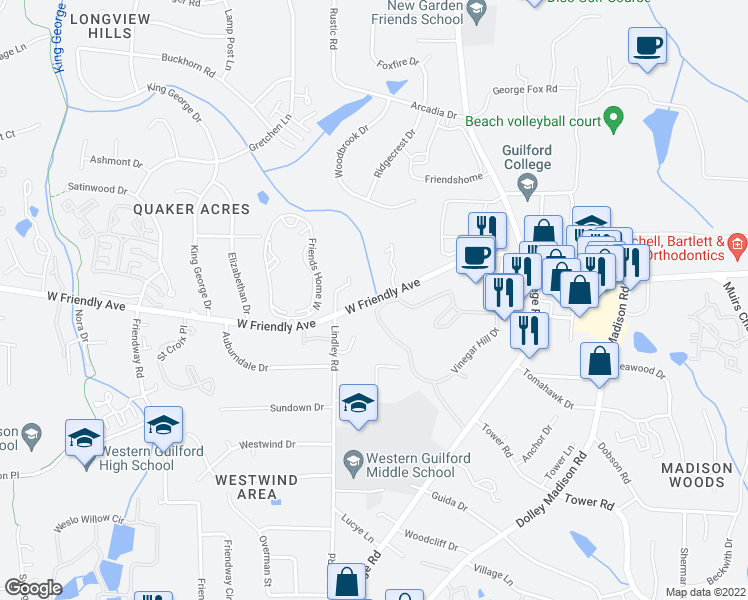 map of restaurants, bars, coffee shops, grocery stores, and more near 6018-6098 West Friendly Avenue in Greensboro