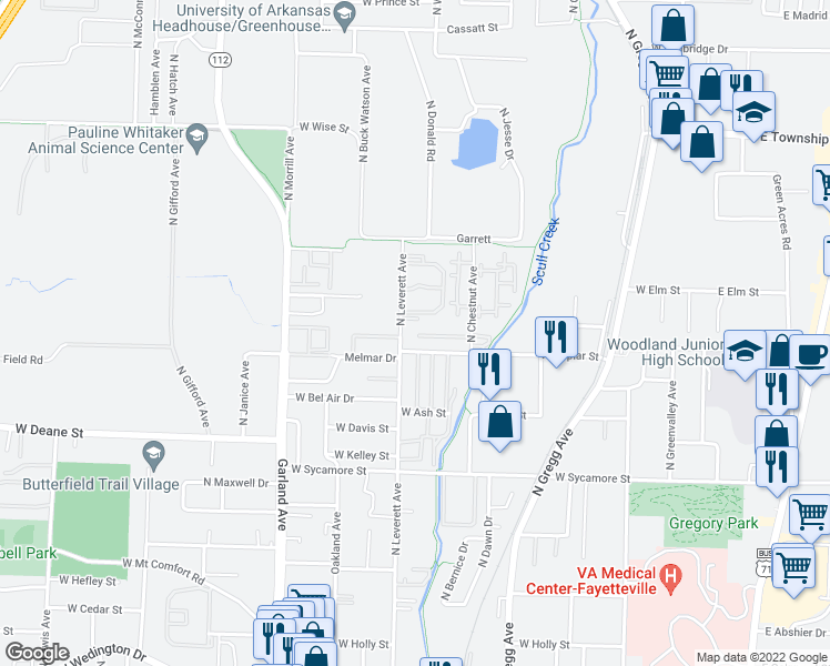 map of restaurants, bars, coffee shops, grocery stores, and more near 780 West Van Gogh Place in Fayetteville